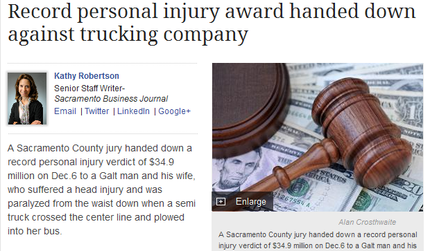 record personal injury award handed down against trucking company