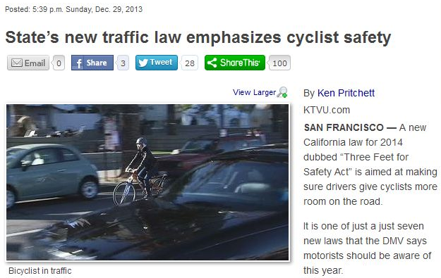 states new traffic law emphasized cyclist safety