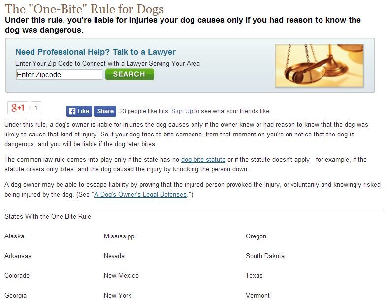 the one-bite rule for dogs