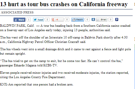 13 hurt as tour bus craashes on california freeway
