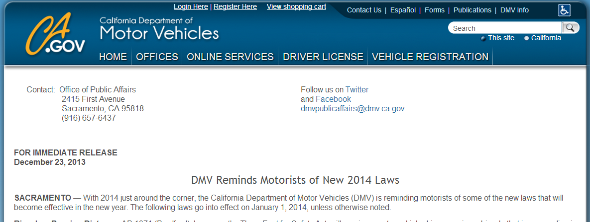 dmv reminds motoriosts of new 2014 laws