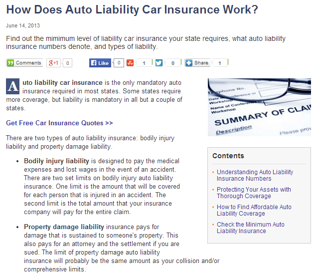 how does auto liability car insurance work