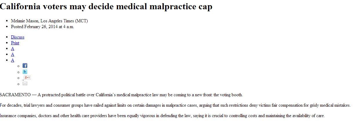 california voters may decide medical malpractice cap